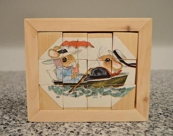 Wooden Puzzle Made With Vintage Children's Book