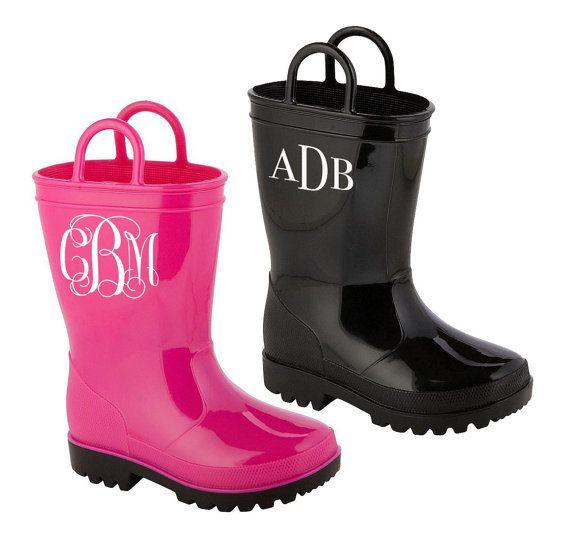 Children's Monogrammed Rain Boots - Girls Rain Boots, Boys Rain Boots #rainboots