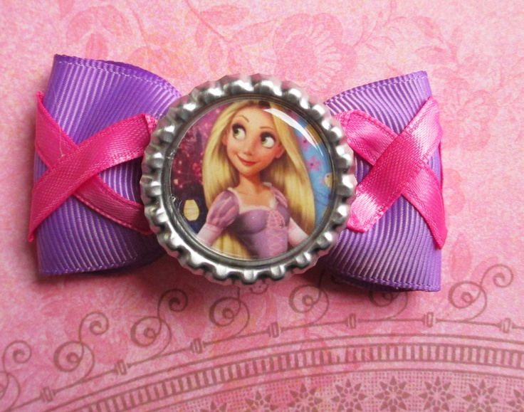 Rapunzel hair bow Disney Princess simple tangled bottle cap kawaii cute girly girls pink corset fun vacation. $4.50, via Etsy.