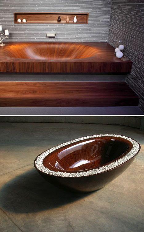 Lit Up Lavatory Fixtures. Wood BathtubWooden ...