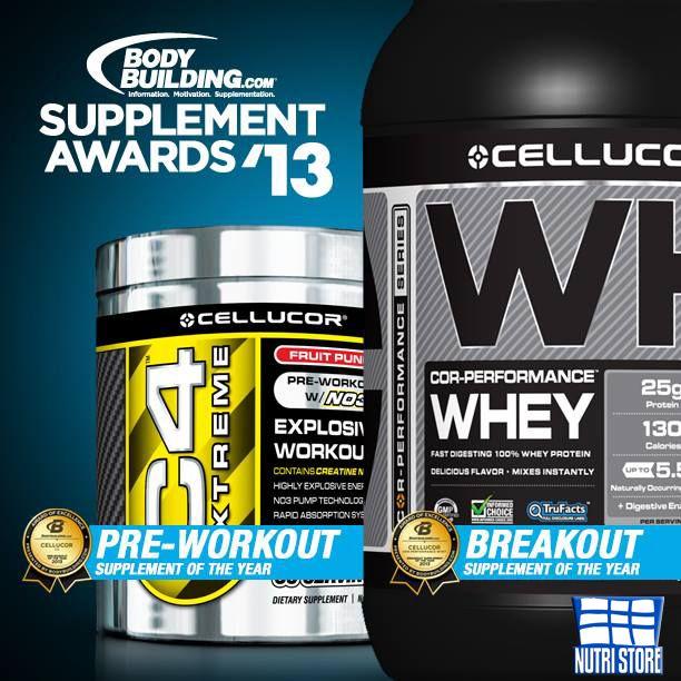CELLUCOR ganador de 2 premios 2013 Bodybuilding.com suplements, C4 mejor Pre entrenamiento Suplemento del año y COR-Performance Whey Suplemento del año.