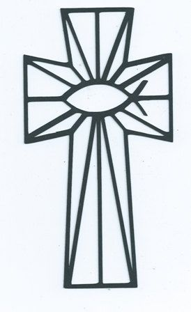 Stained glass cross with fish center silhouette by hilemanhouse, $1.99