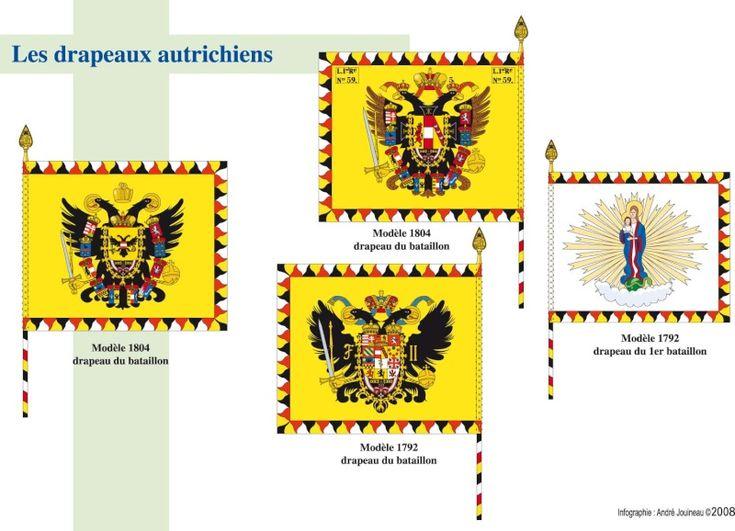 L'armée autrichienne - drapeaux  L'infanterie et la cavalerie on le même drapeau à la taille de l'infanterie et la taille de l'étendard. L'avers et le revers sont identiques. A noter que le modèle 1804 a été assez peu distribué. Qe pour faire simple les modèles 1792 et 1806 se sont côtoyés. N'est pas représenté le Leibfhane du modèle 1806 qui est le même sujet que le précédent mais peint autrement.