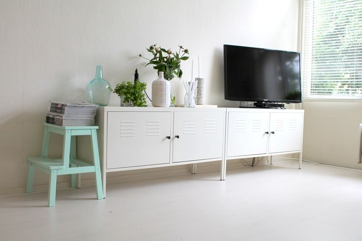 Ikea 'PS' cabinets & mint painted 'Bevkäm' stool