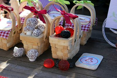 A little red riding hood party - complete with baskets of goodies and Lamington 'mushrooms'! Shared by @Stephanie Bond