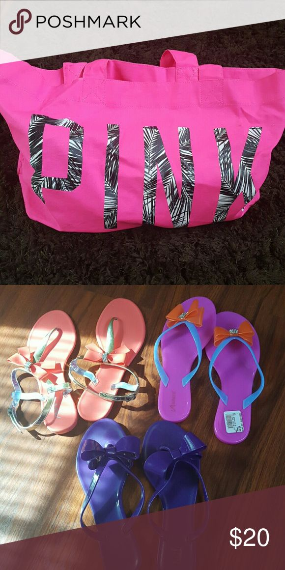 PINK Bag & 3 Pr. Plastic Sandals!!! Bundle package Only! Not sold separate. Sizes 8, 9 & 10 Bag plus 3 plastic bow sandals! Too cute!!! Note: Pink bag has a few light stains, im sure can wash out. No major stains. All 3 pairs have been gently used, in good condition. Shoes Sandals