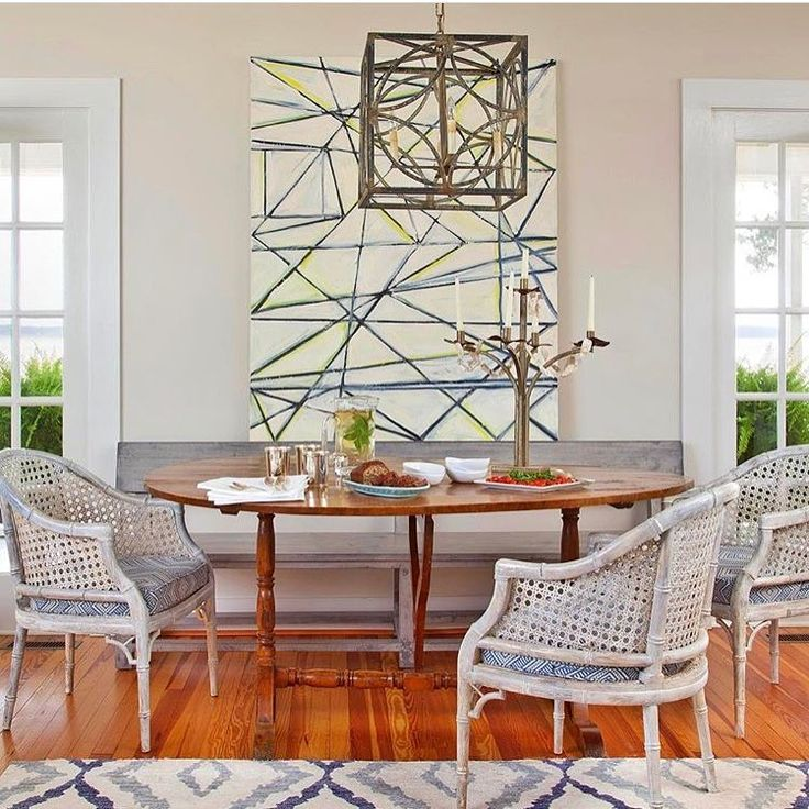 Regram from @janiemolsterdesigns. Love this dining room with my painting! Beautiful!! #artinview #contemporaryart #abstractpainting #interiors #interiordesign #lindsaycowles #wallpaper #wallcovering #painting #art