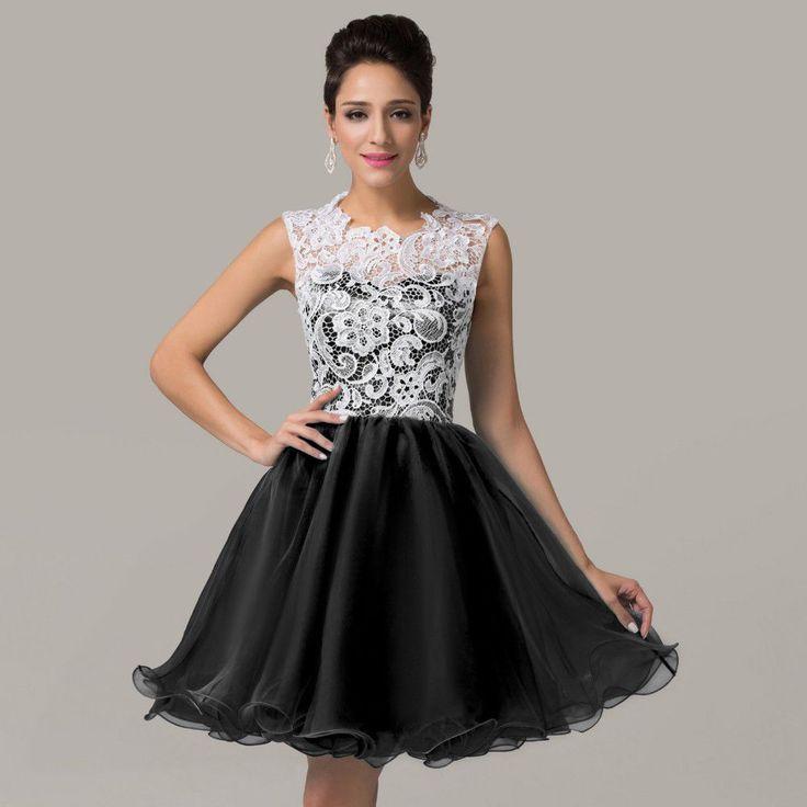 Короткое вечернее платье с корсетом, кружевами и пышной юбкой