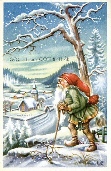 Julkort av Lars Carlsson. Från 1950-talet.