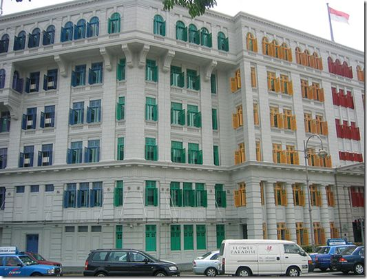 The colorful shutters of the Ministry of Information, Communication and the Arts (MICA) building...Clarke Quay, Singapore