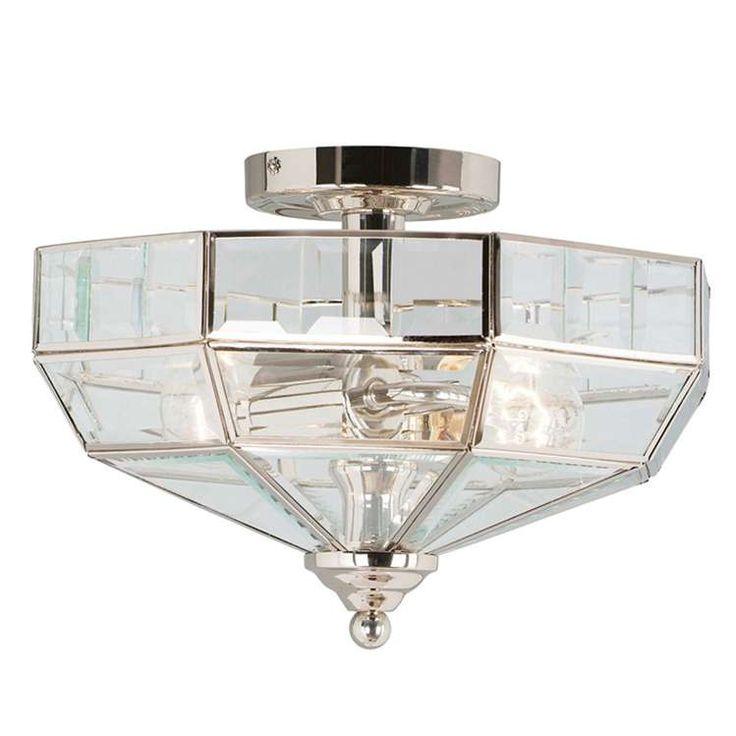 Plafon LAMPA sufitowa OLD PARK PN Elstead OPRAWA szklana bryła nikiel przezroczysty