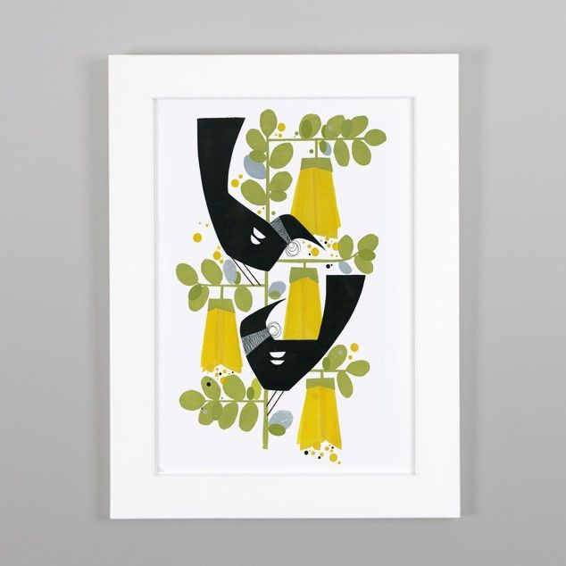 Two Tuis Kowhai Print by Holly Roach $88 framed a4
