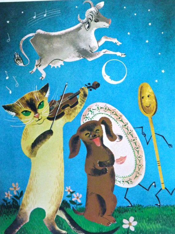 Teaching Pictures Cow Jumped Over the Moon Picture Mother Goose Picture Nursery Rhyme Picture Wall Decor Nursery Decor