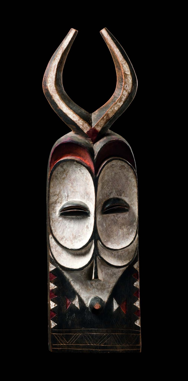 Africa | Male masks with horns from the Bembe people of DR Congo | Wood, pigment | ca. 1960 - 70s