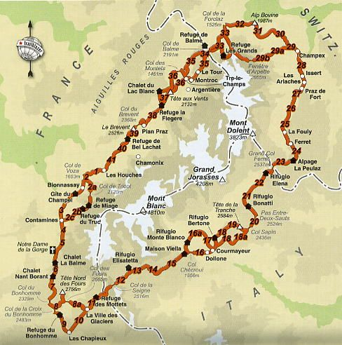 Map of the Tour du Mont Blanc, a 160km hiking route through France, Italy and Switzerland.