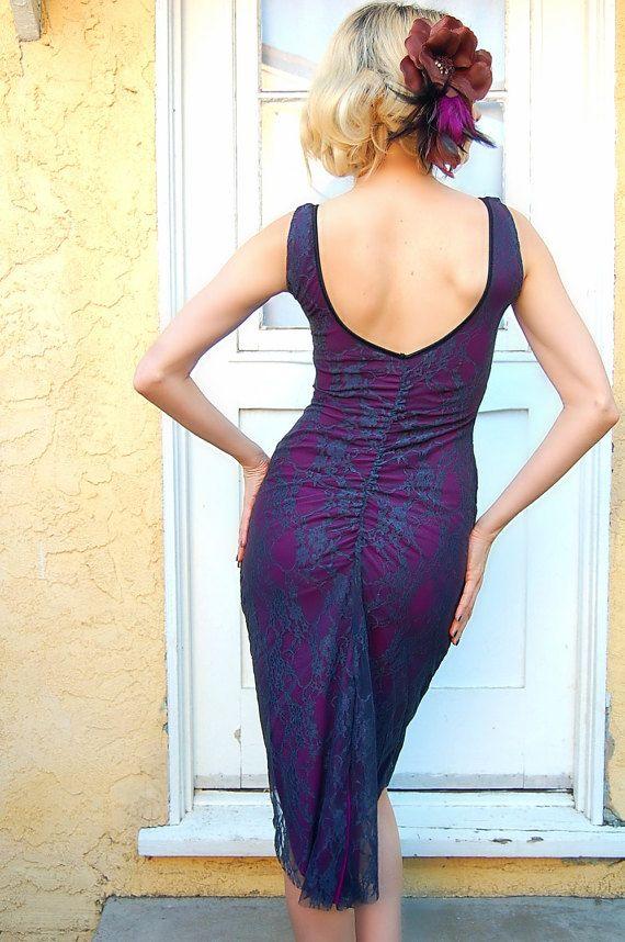 Lace Tango Dress MIMOSA Scoop Neck Dress pin Up Dance Dress