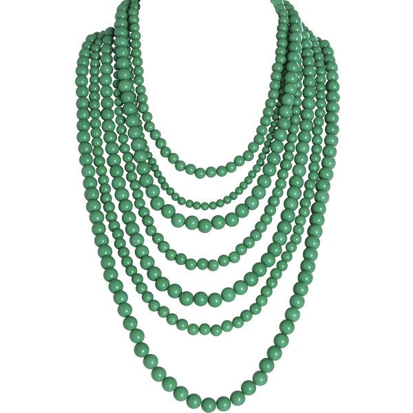 Humble Chic NY Bold Bead Multistrand Necklace ($44) ❤ liked on Polyvore featuring jewelry, necklaces, green, chain necklaces, pearl statement necklace, collar necklace, green bead necklace and green bib necklace