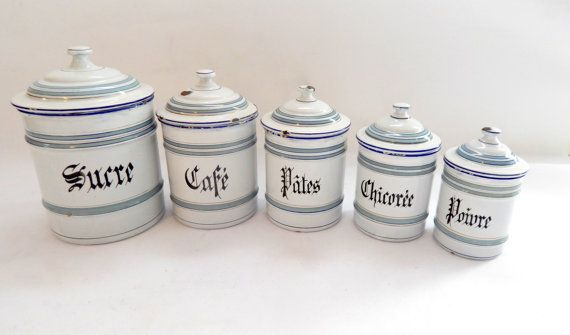 5 French Vintage Enamelware Canisters with Lids Duck Egg Blue and White
