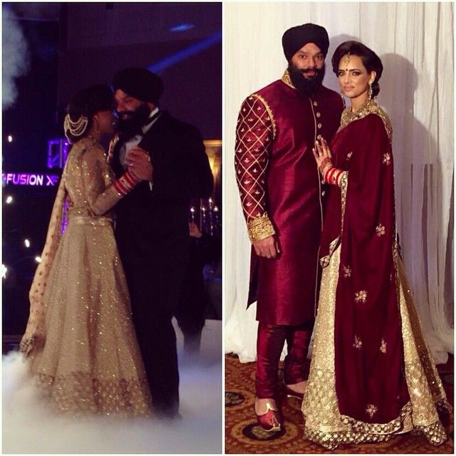 Keeping the standard high, Aman and her #groom shined at their #reception in their custom designed outfits by yours truly, #Wellgroomed