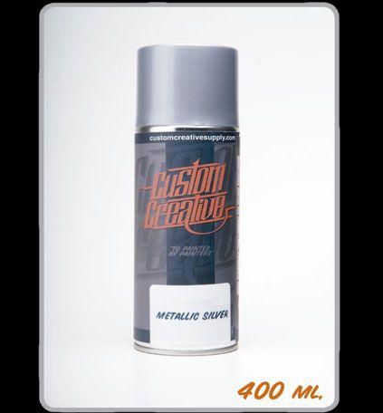 Color base plata metalizado en spray de 400 ml. de Custom Creative. Silver base.