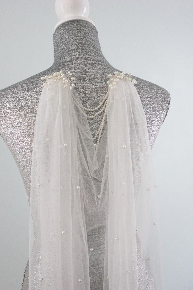 Boho Draped Veil | Pearl Boho Veil | Draped Veil | Boho Bridal Veil | Boho Wedding Veil | Draped Bohemian Veil | Chapel Veil | Shoulder Veil – Clothing Inspiration