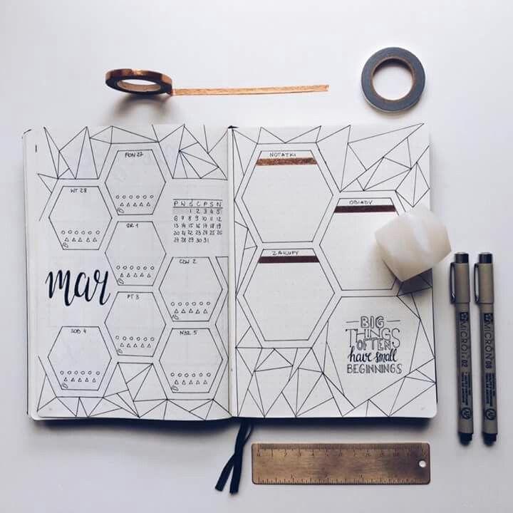 geometric bullet journal page inspo