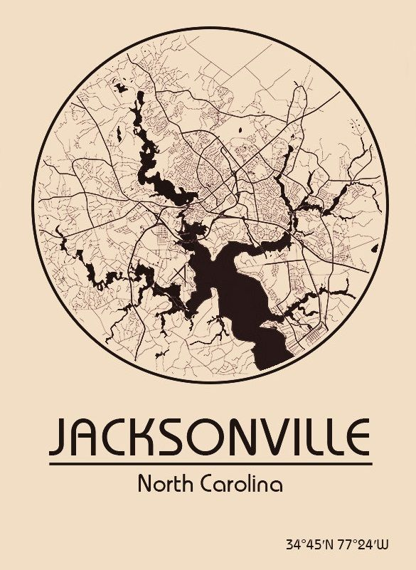 Karte / Map ~ Jacksonville, North Carolina - Vereinigte Staaten von Amerika / United States of America / USA