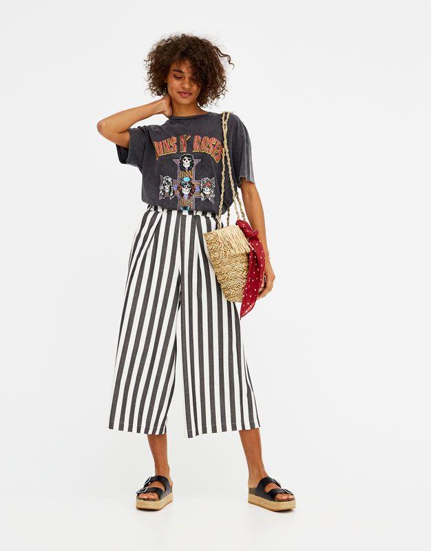 Pull Bear - mujer - novedades - pantalón culotte rayas - blanco negro -  05680374-V2018 3d7906869235