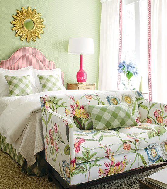 Vivacious Feminine Interior In Pink Stunning Feminine Touch Floral Sofa Green Bedroom Interior