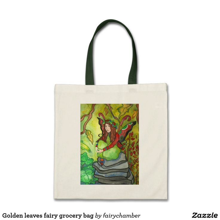 Golden leaves fairy grocery bag
