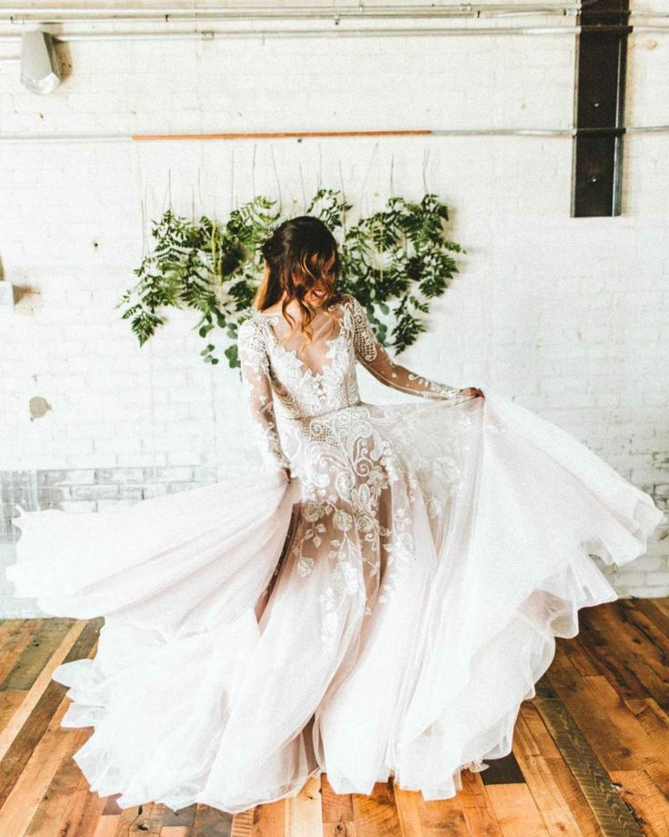 Ugh, if i could only do it again!!!   Long sleeve, lace Hayley Paige wedding dress - Our Favorite Instagram Posts 5.13.16 | WeddingDay Magazine