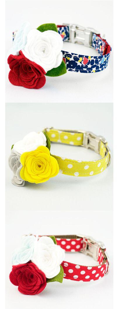 Designer Flower Dog Collars at Felix Chien! #DesignerDogCollars #Summer #RoverBoutique