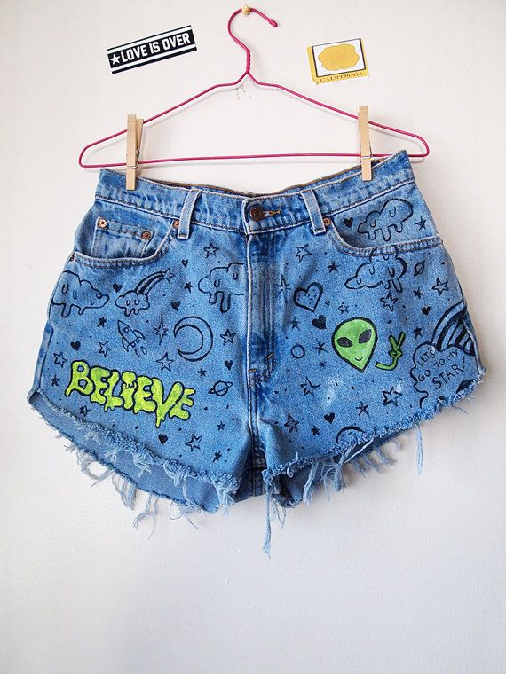 DOODLE JEANS // Vintage 90s High Waisted Shorts Alien UFO Drawn On Graffiti Denim Size M on Etsy, $35.00
