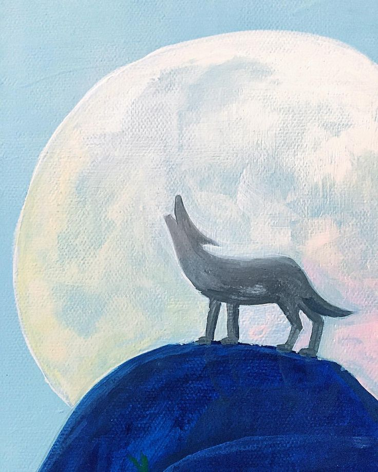 Acrylic Painting Details Moon Wolf Howl Night