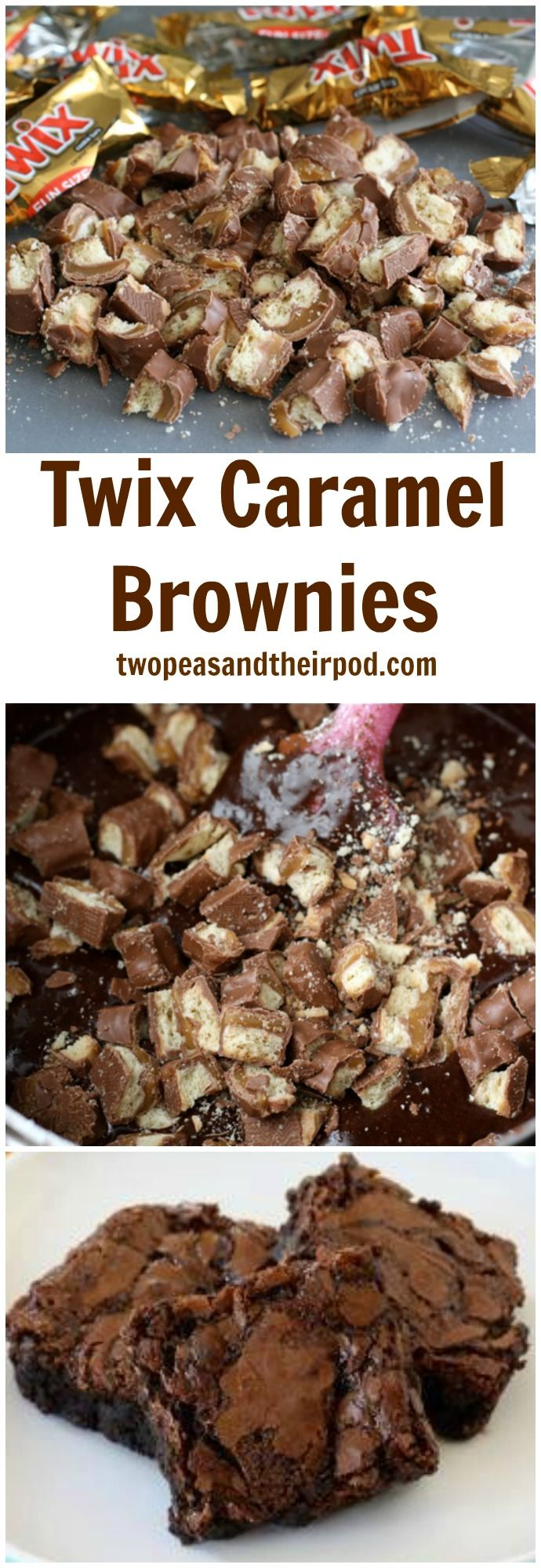 Twix Caramel Brownies Recipe on twopeasandtheirpod.com These brownies are easy to make and SO amazing! You will love the Twix and caramel addition!