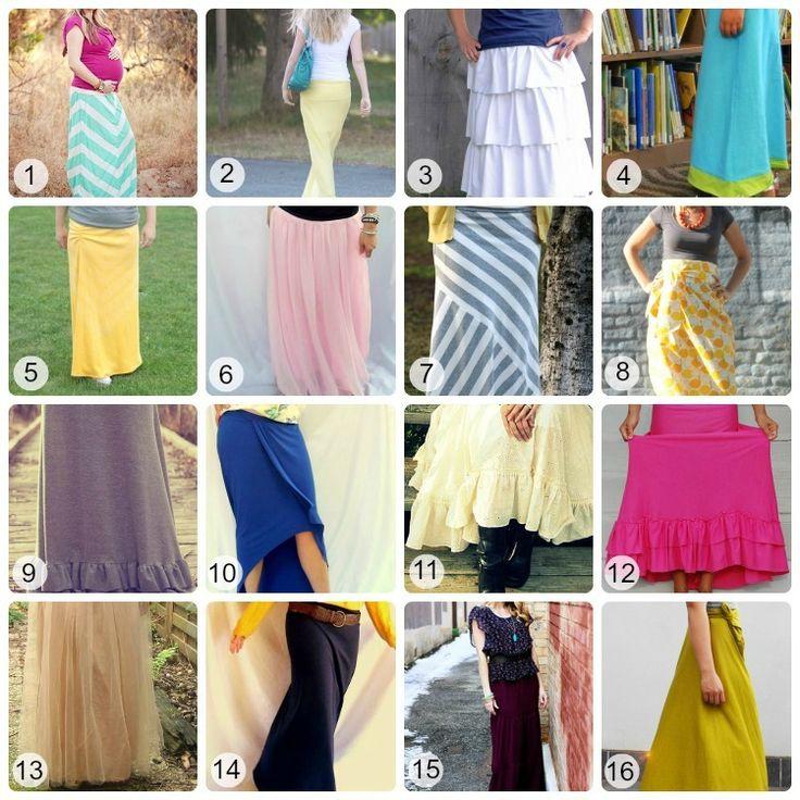 16 maxi skirt/dress tutorials.