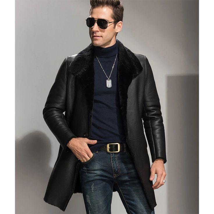 $576  Black X-Long Men's Shearling Jacket Men's Fur Coats And Outfit Men's Winter Sheepskin Shearling Coat