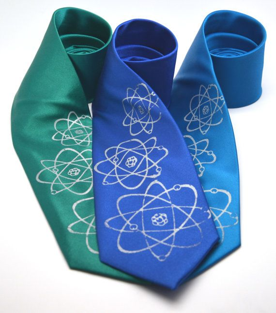 Three Atoms Silkscreen Necktie. Microfiber screen printed science tie.