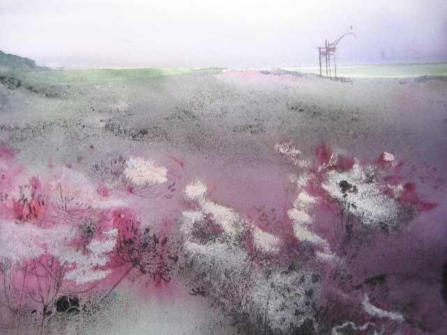 Dernier carrelet (Painting),  60x80 cm by Reine-Marie PiNCHON Technique mixte à l'eau sur papier