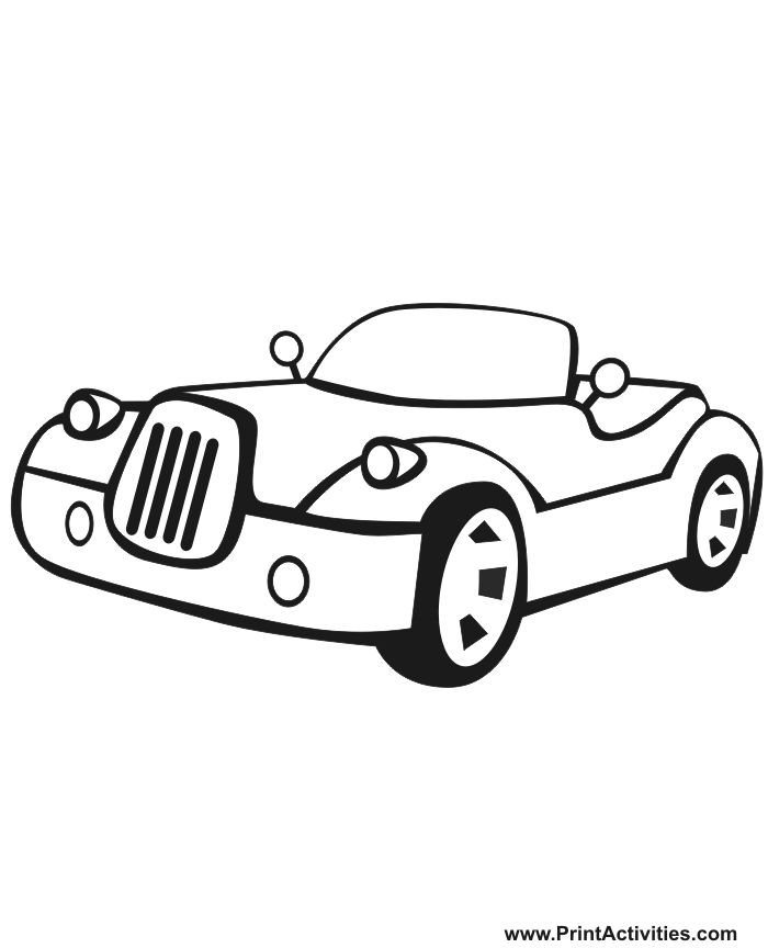 car coloring page of a convertible