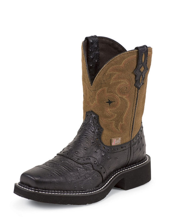justin s black ostrich print boot l9968 my style