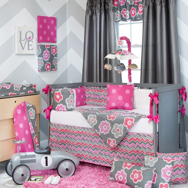 baby girl crib sets | … Baby Girl Pink Grey Modern Crib Nursery Room Idea Bedding Quilt