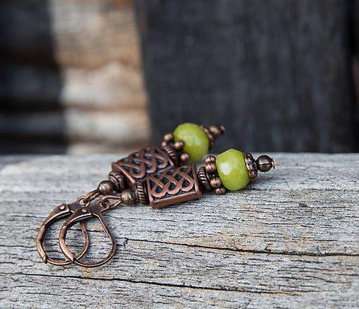 gabi111 / Malé zelené jadeity v medenom - náušnice