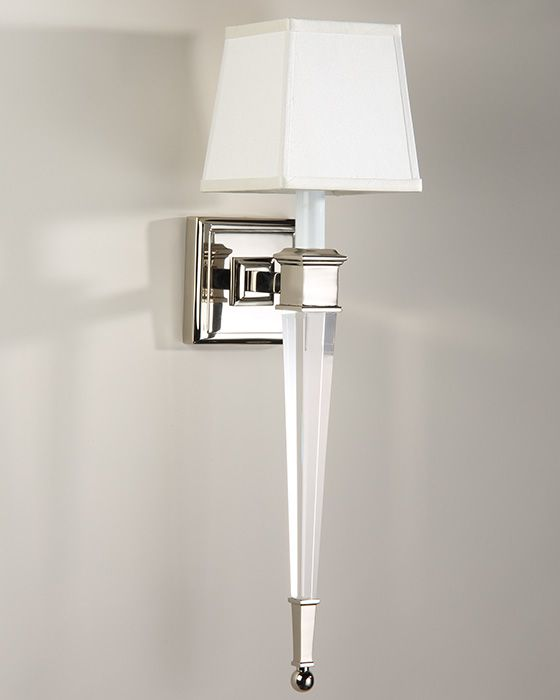 wall sconce - brass and solid crystal sconce in polished nickel finish - #sconces