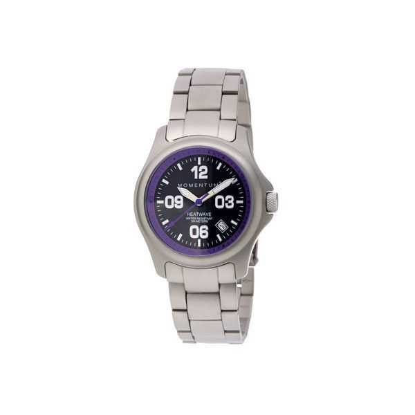 Women's Momentum Watch Heatwave Stainless Steel Watch ($260) ❤ liked on Polyvore featuring jewelry, watches, analog digital watches, purple watches, stainless steel jewelry, brightly watches, ana-digi watches and stainless steel wrist watch