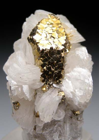Pyrite on Quartz with Calcite from Panasquiera Mine, Barroca Grande, Beira Baxia, Portugal