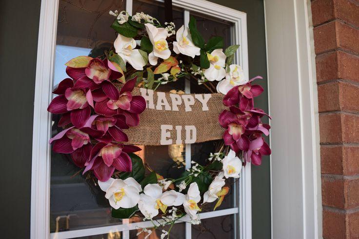 Happy Eid Orchid Wreath by MaleehasArtsCrafts on Etsy