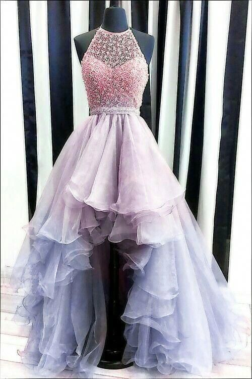 luxury beading prom dresses, modest high low graduation party gowns, chic formal…