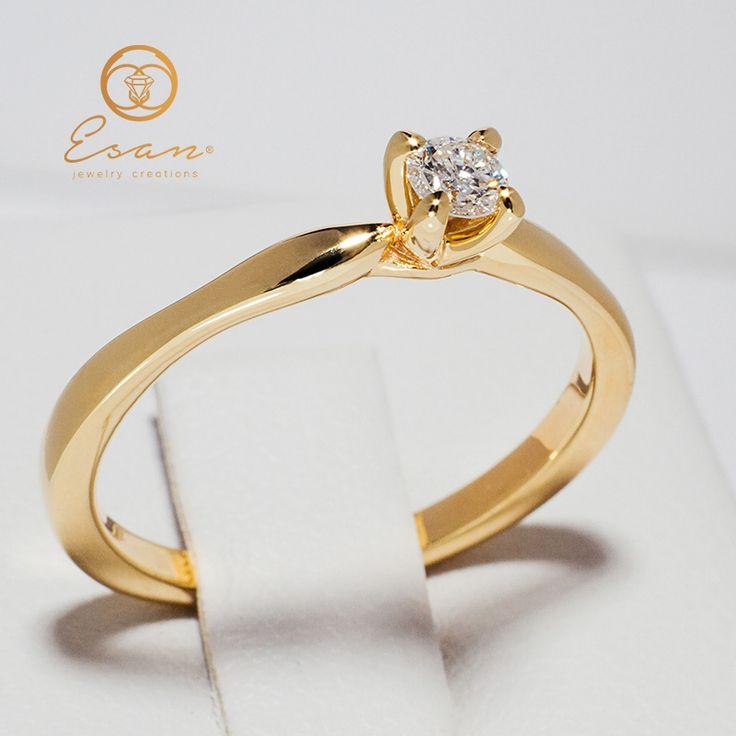 Inel de logodna din aur galben cu diamant ES48