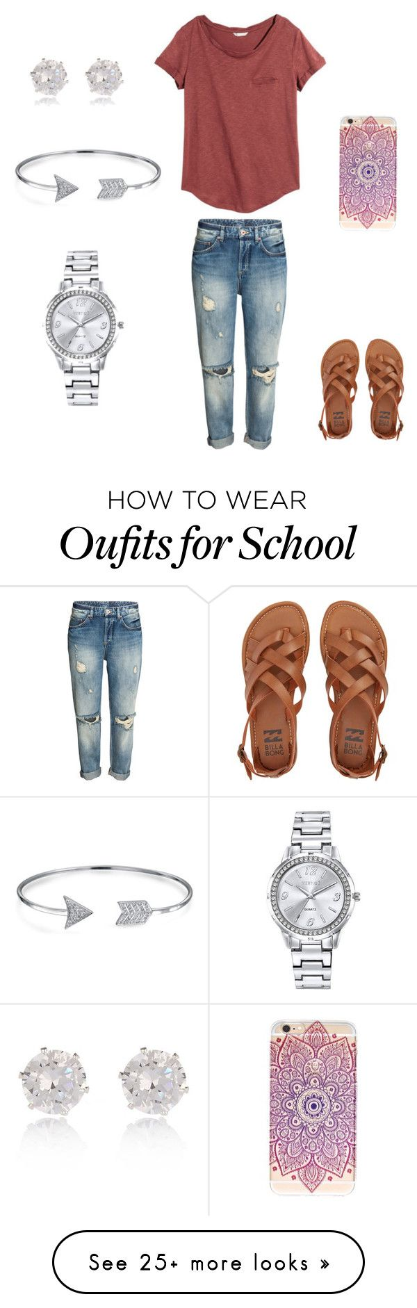 """""""Back to School Outfit"""" by hannahcoalson-1 on Polyvore featuring H&M, Billabong, Bling Jewelry, Mestige and River Island"""